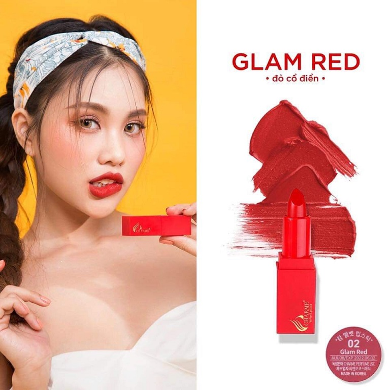 Son sáp Charme số 02:  GLAM RED -  Đỏ cổ điển